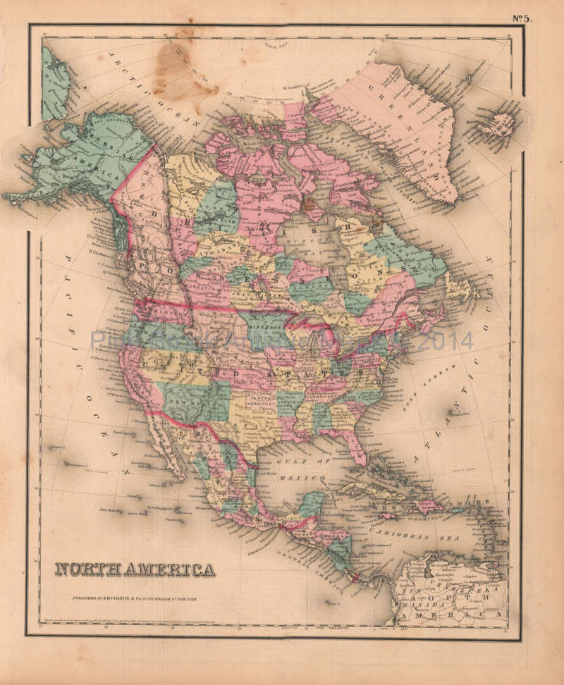 Antique Map Of North America.Original North America Antique Map Colton Gw 1857 For Sale Home
