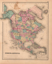 North America Antique Map Colton GW 1857