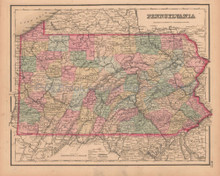 Pennsylvania Antique Map Colton GW 1857
