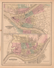 Pittsburgh Cincinnati Antique Map Colton GW 1857