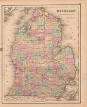 Michigan Antique Map Colton GW 1857