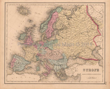 Europe Antique Map Colton GW 1857