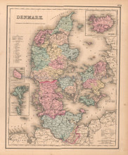 Denmark Antique Map Colton GW 1857