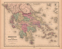 Greece Ionian Republic Antique Map Colton GW 1857