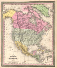 North America Antique Map DeSilver 1854