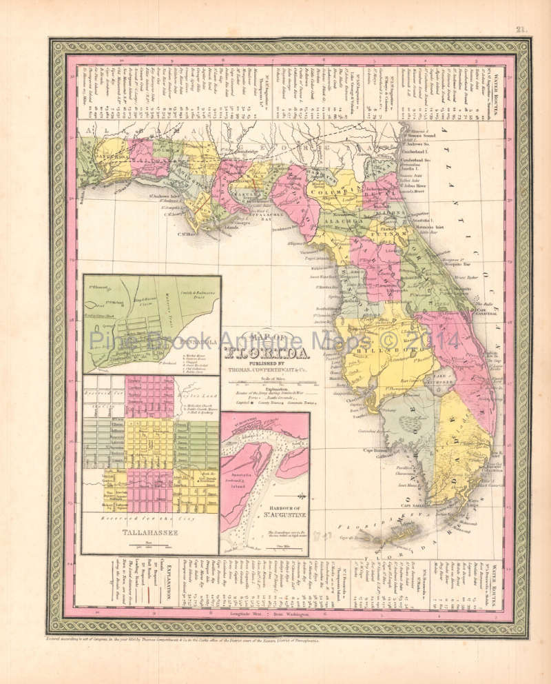 Antique Map Of Florida.Florida Antique Map Desilver 1854 Pine Brook Antique Maps