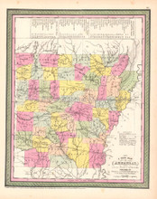 Arkansas Antique Map DeSilver 1854