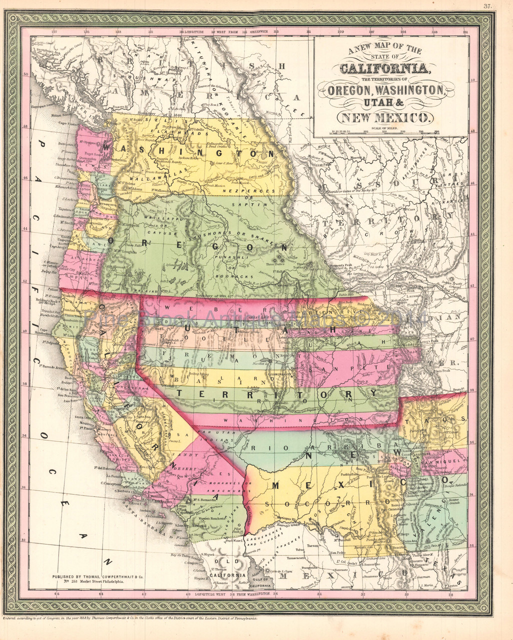 Map Of California To Oregon.California Oregon Territory Antique Map Desilver 1854