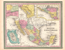 Mexico Guatemala Antique Map DeSilver 1854