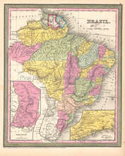Brazil Antique Map Brazilian Decor Housewarming Gift Ideas DeSilver 1854
