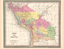 Peru Bolivia Antique Map DeSilver 1854