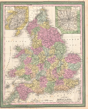 England Antique Map DeSilver 1854