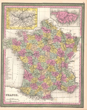 France Antique Map DeSilver 1854