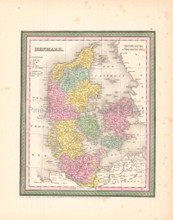 Denmark Scandinavia Antique Map DeSilver 1854