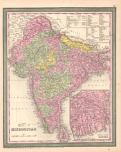 Hindoostan India Antique Map DeSilver 1854