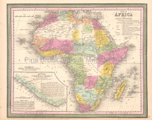African Continent Antique Map DeSilver 1854
