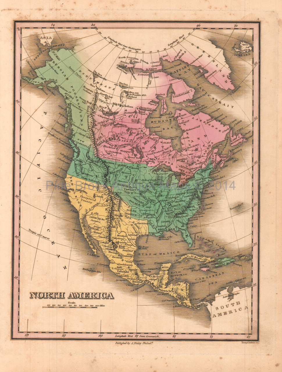 Antique Map Of North America.North America Antique Map Anthony Finley 1824 Pine Brook Antique Maps