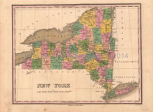 New York Antique Map Anthony Finley 1824