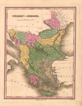 Turkey in Europe Antique Map Anthony Finley 1824