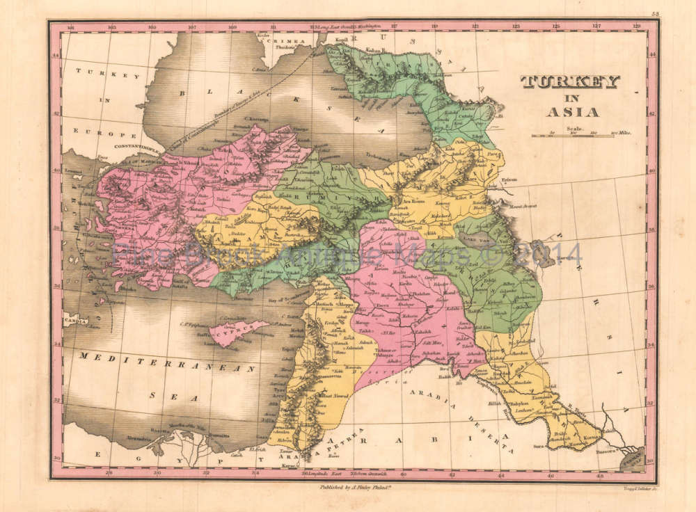 Map Of Asia Today.Turkey In Asia Antique Map Anthony Finley 1824