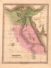Egypt Antique Map Anthony Finley 1824