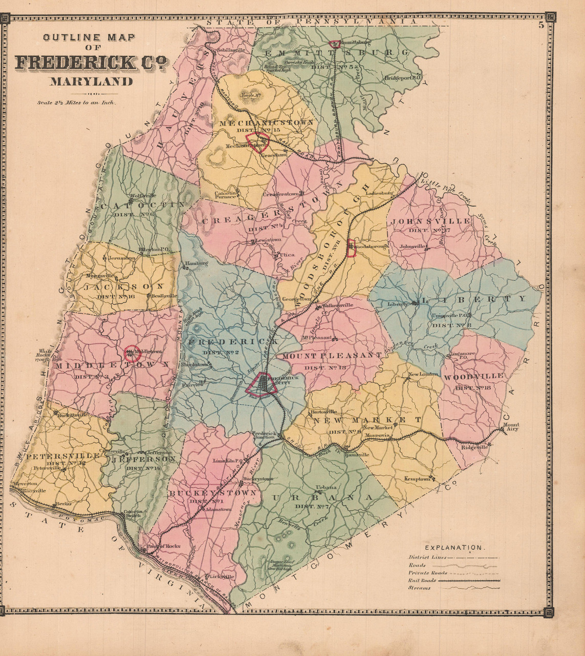 map of frederick county maryland Frederick County Maryland Antique Map Lake 1873 Pine Brook map of frederick county maryland