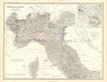 Italy North Antique Map Johnston 1861