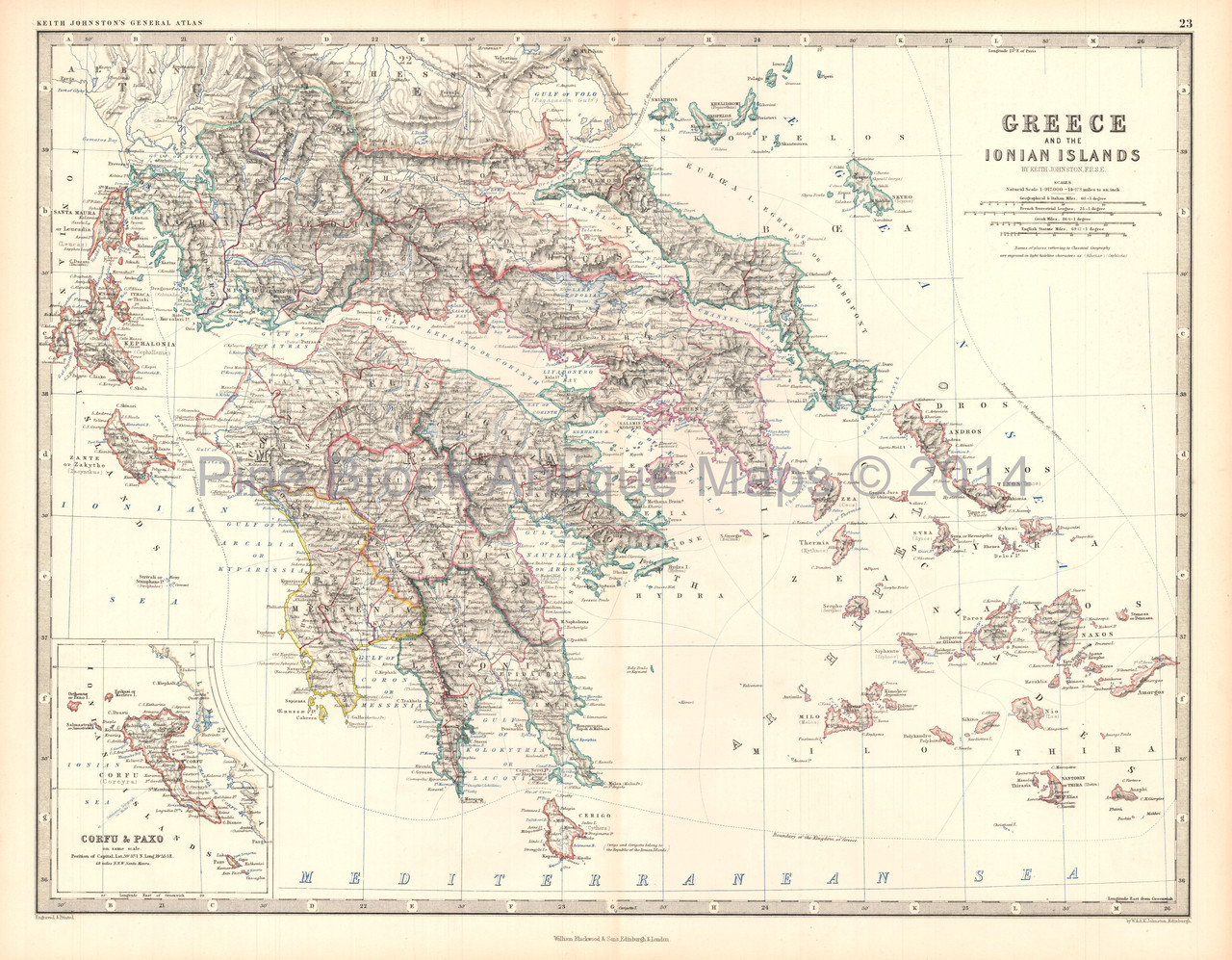 Greece Ionian Islands Antique Map Johnston 1861
