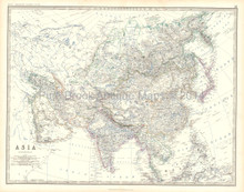 Asia Antique Map Johnston 1861