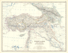 Turkey Transcaucasia Antique Map Johnston 1861
