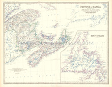 Eastern Canada Antique Map Johnston 1861