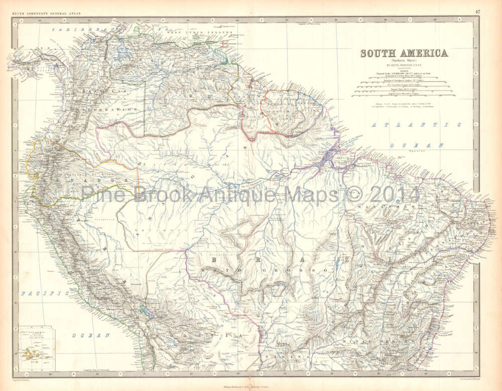Map Of America In 1861.Northern South America Antique Map Home Decor History Gift Ideas