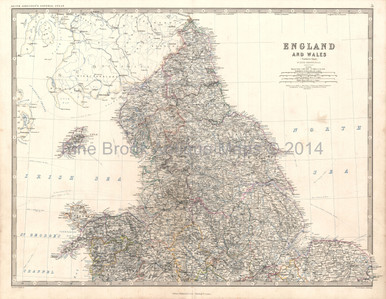 England Wales North Antique Map Johnston 1864