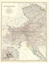 Austrian Empire West Antique Map Johnston 1864
