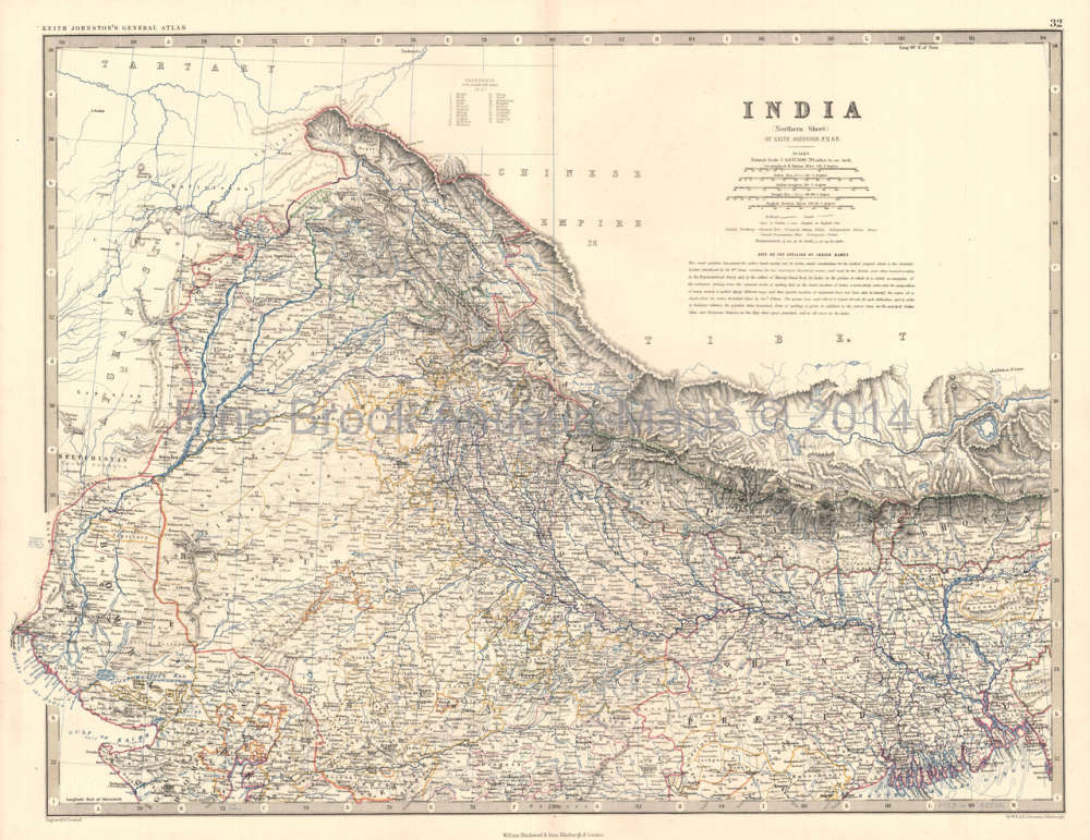 Original Northern India Antique Map Johnston 1864 For Sale Home