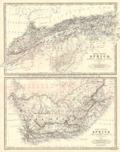 Northern Southern Africa Antique Map Johnston 1864