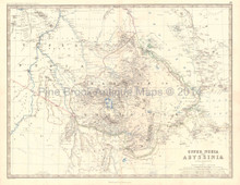 Upper Nubia Abyssinia Antique Map Johnston 1864