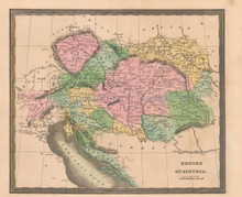 Austrian Empire Antique Map Greenleaf 1844