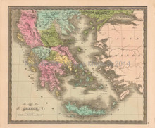 Greece Antique Map Greenleaf 1844