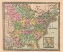 United States Antique Map Greenleaf 1844