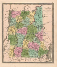 Vermont New Hampshire Antique Map Greenleaf 1844