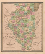 Illinois Antique Map Greenleaf 1844