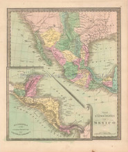 United States Mexico Antique Map Greenleaf 1844