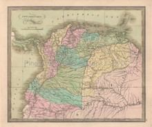 New Granada Venezuela Antique Map Greenleaf 1844