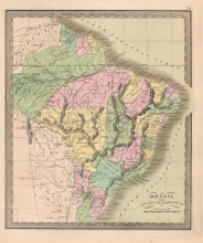 Brazil Antique Map Brazilian Decor History Gift Ideas Greenleaf 1844