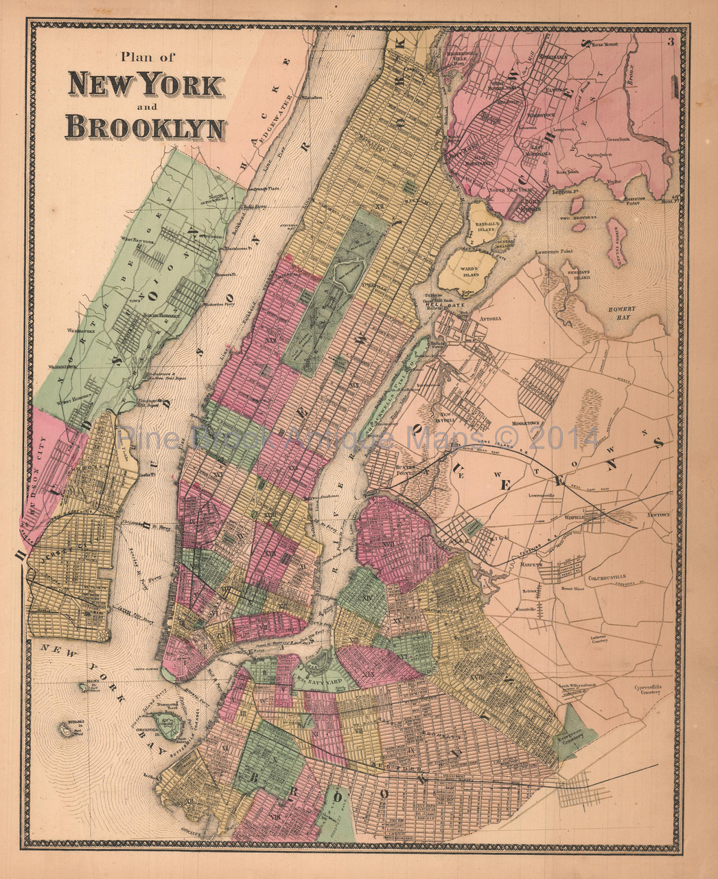 brooklyn map new york New York City Brooklyn Antique Map Beers 1867 Pine Brook Antique brooklyn map new york