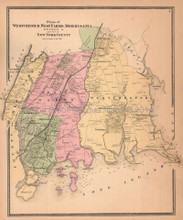 Westchester West Farms Morrisania New York Antique Map Beers 1867