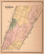 Town of Yonkers New York Antique Map Beers 1867