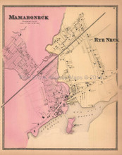 Mamaroneck Rye Neck New York Antique Map Beers 1867
