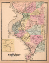 Town of Cortlandt New York Antique Map Beers 1867
